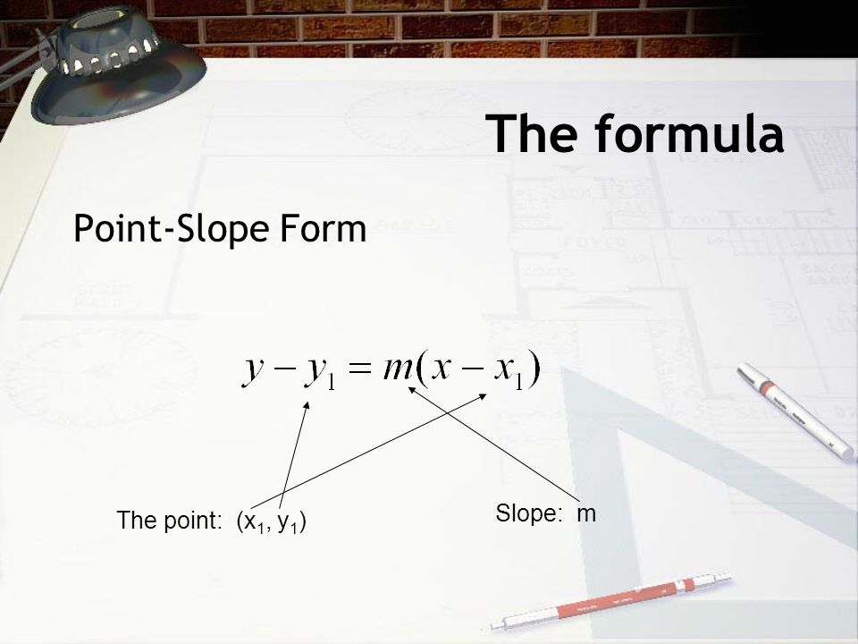 The formula Point-Slope Form The point: (x 1, y 1 ) Slope: m
