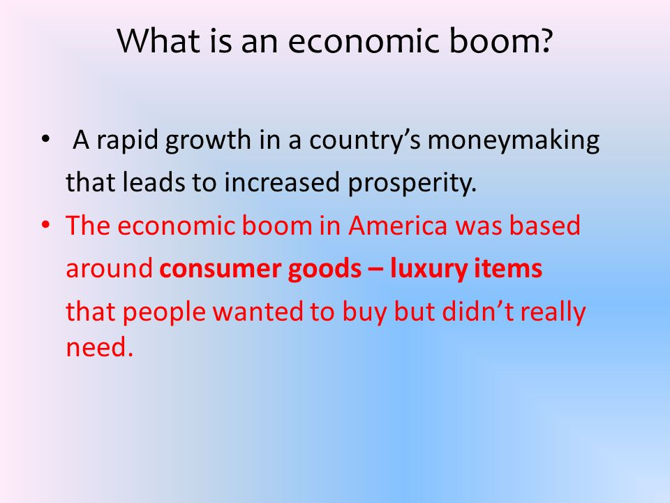 What is an economic boom.