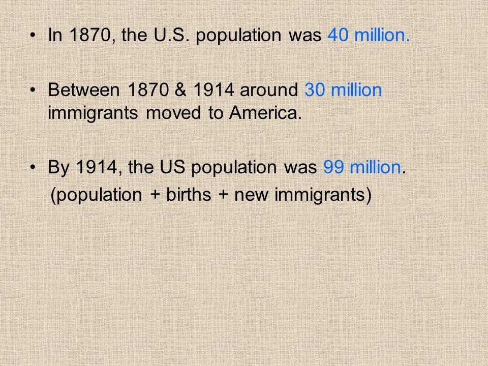 In 1870, the U.S. population was 40 million.