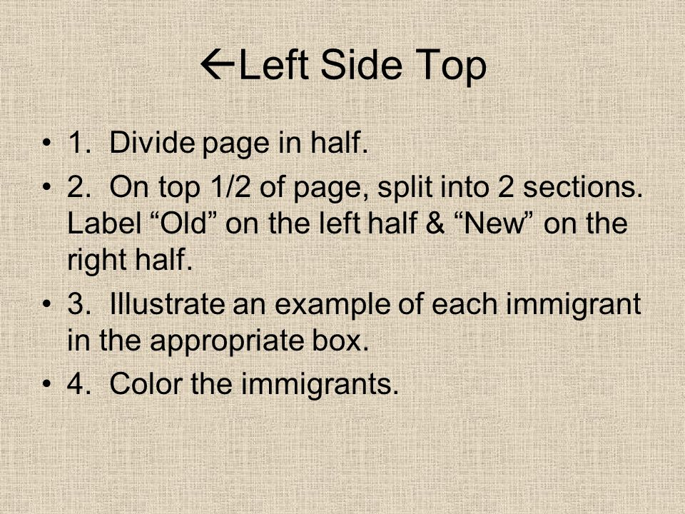 Left Side Top 1.Divide page in half. 2. On top 1/2 of page, split into 2 sections.