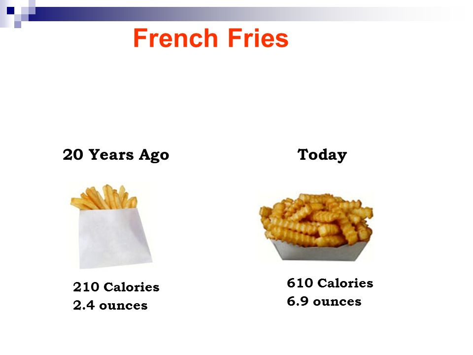 French Fries 20 Years AgoToday 210 Calories 2.4 ounces 610 Calories 6.9 ounces
