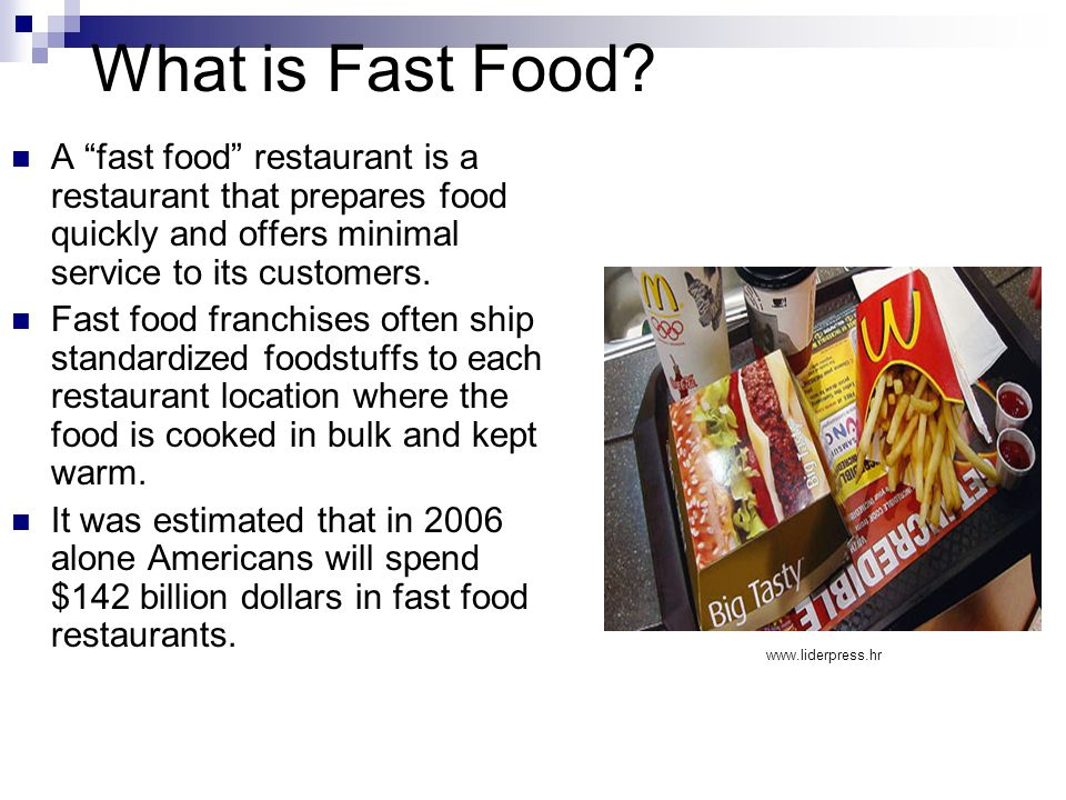 What is Fast Food? A fast food restaurant is a restaurant that prepares food quickly and offers minimal service to its customers. Fast food franchises
