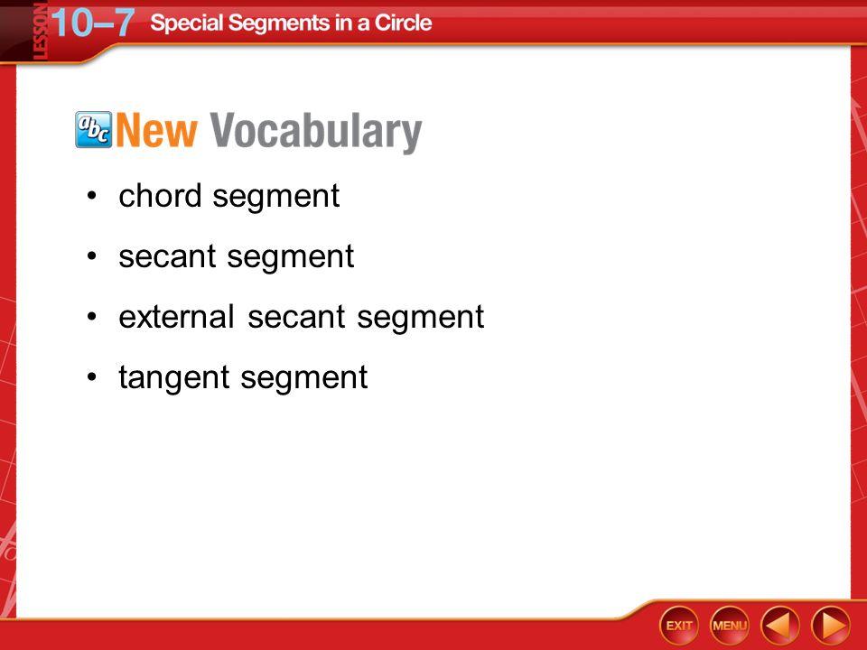 Vocabulary chord segment secant segment external secant segment tangent segment