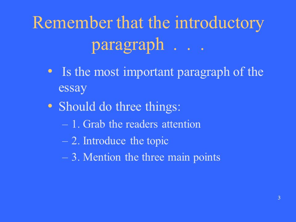 2 When you write an introductory paragraph, keep in mind that...