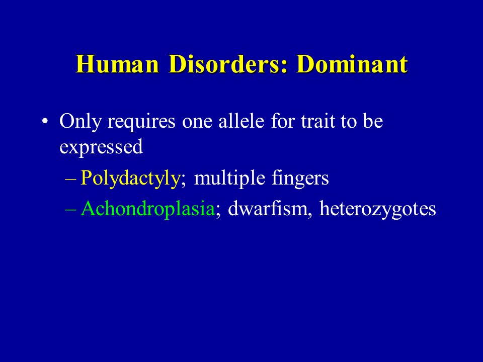 Human Disorders: Dominant Only requires one allele for trait to be expressed –Polydactyly; multiple fingers –Achondroplasia; dwarfism, heterozygotes