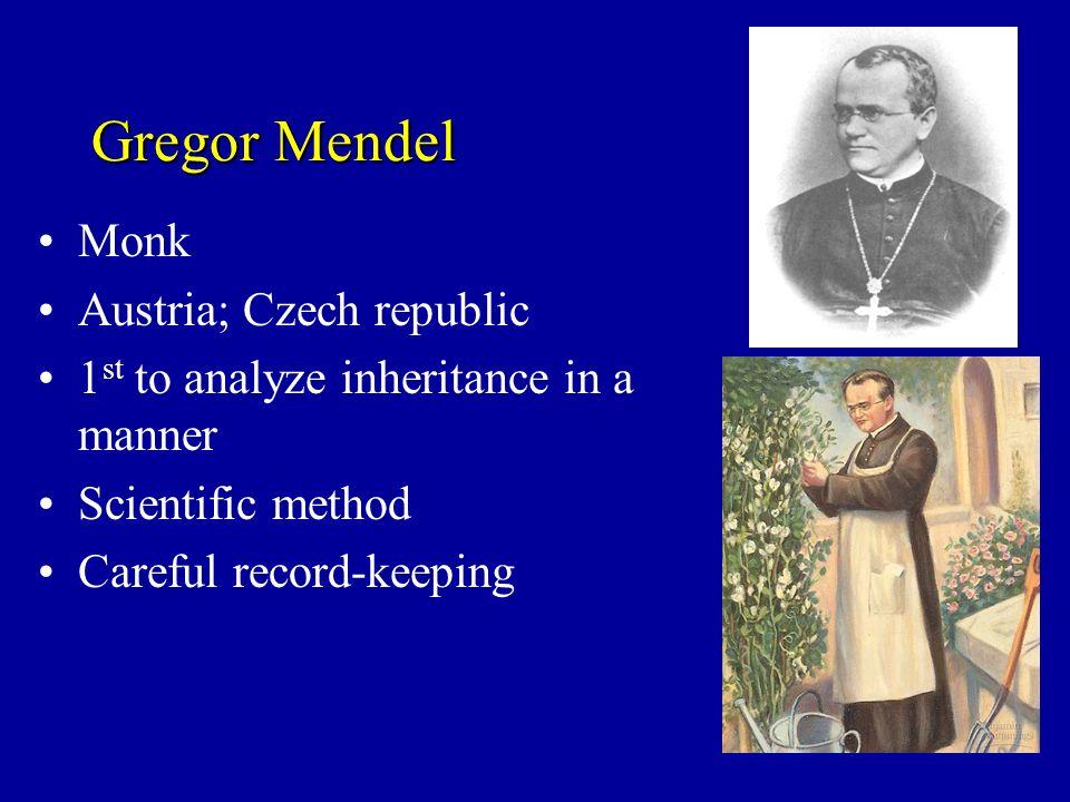 Gregor Mendel Monk Austria; Czech republic 1 st to analyze inheritance in a scientific manner Scientific method Careful record-keeping