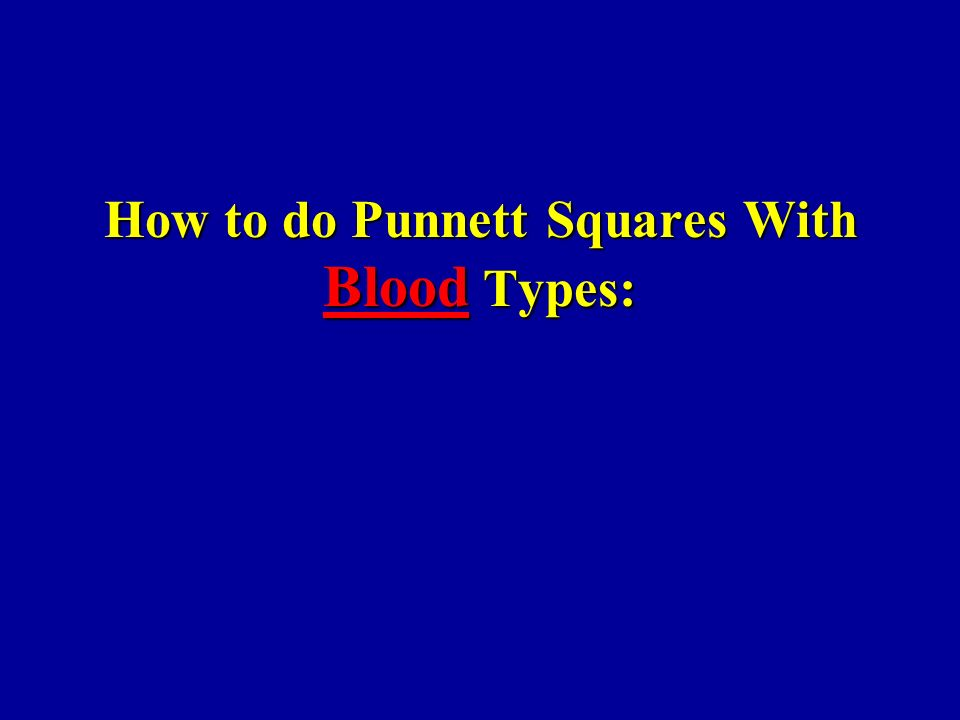 How to do Punnett Squares With Blood Types: