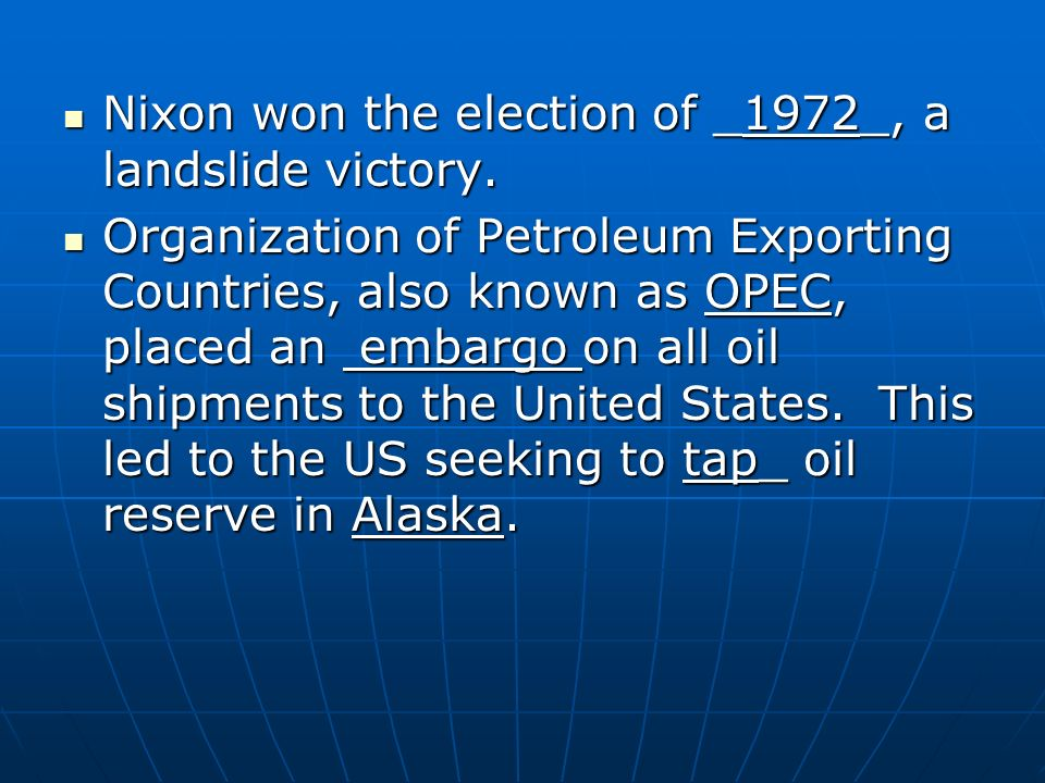 Nixon won the election of _1972_, a landslide victory.