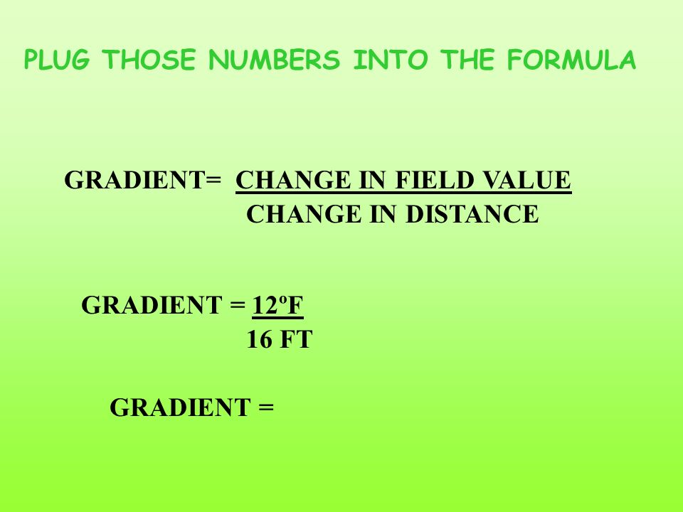 TO CALCULATE THE GRADIENT BETWEEN POINTS A AND B 1.) FIND THE TEMP. DIFFERENCE BETWEEN THE TWO POINTS 2.) MEASURE THE DISTANCE BY MARKING THE END POIN