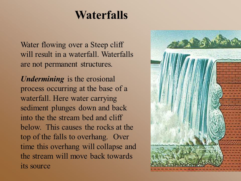 Waterfalls Water flowing over a Steep cliff will result in a waterfall. Waterfalls are not permanent structures. Undermining is the erosional process