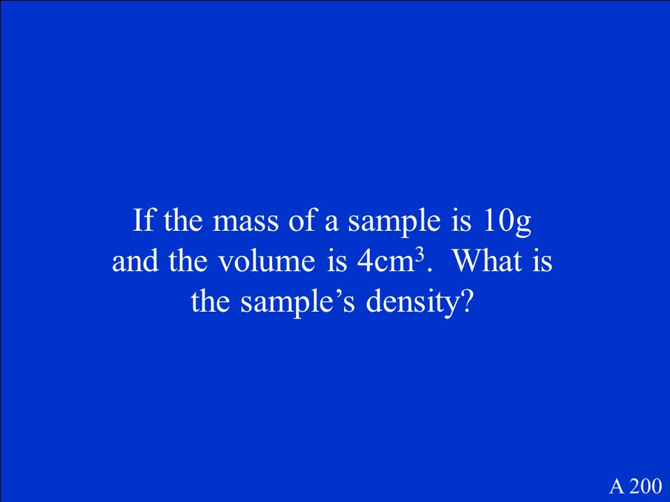 What is the formula for volume A 100