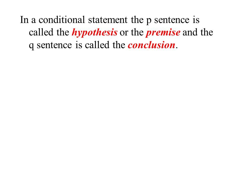 Using Symbols A conditional statement is also called an implication p implies q. Let p represent: John studies Let q represent: John gets good grades