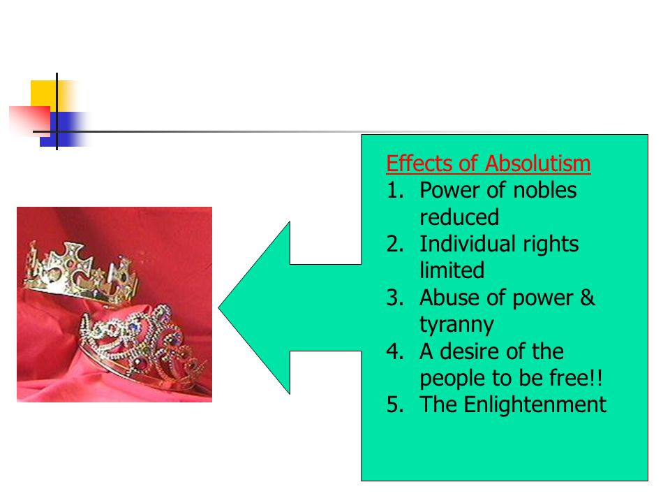 Effects of Absolutism 1.Power of nobles reduced 2.Individual rights limited 3.Abuse of power & tyranny 4.A desire of the people to be free!.
