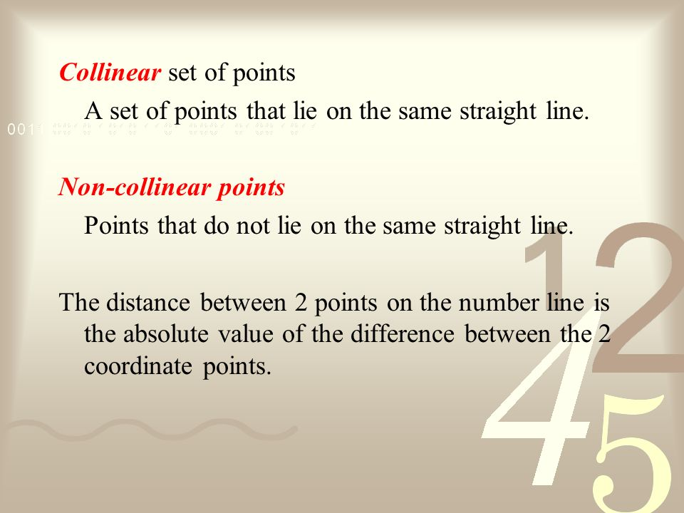 Collinear set of points A set of points that lie on the same straight line.