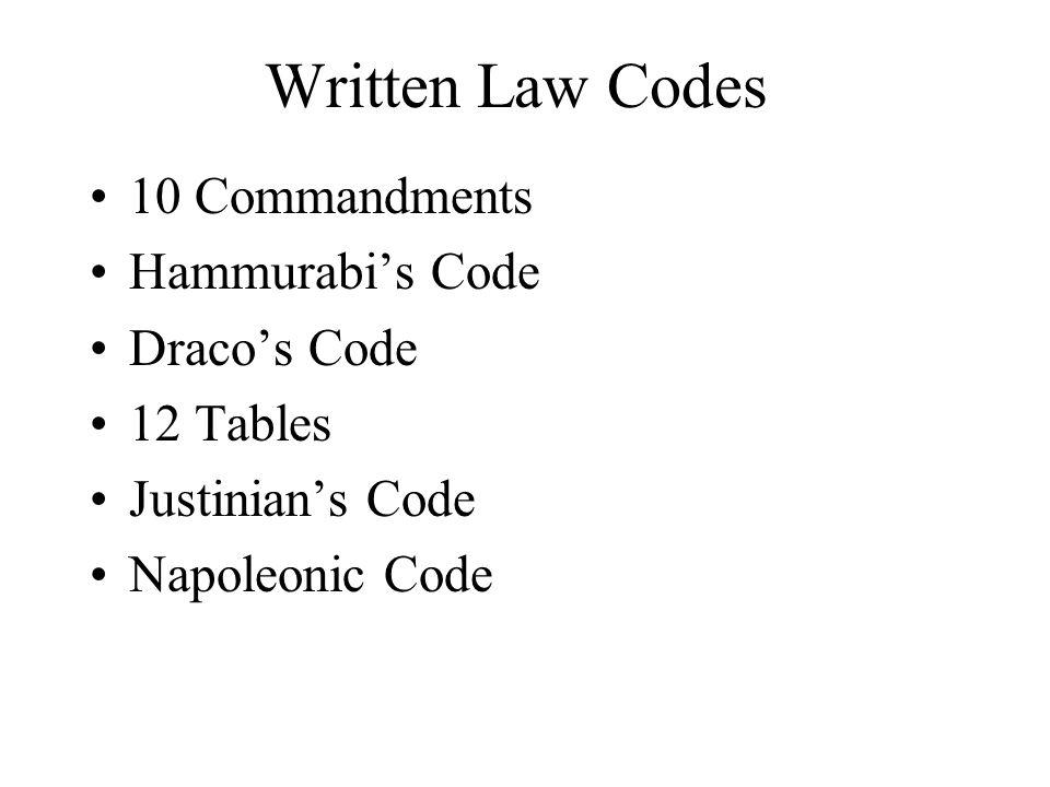 Written Law Codes 10 Commandments Hammurabis Code Dracos Code 12 Tables Justinians Code Napoleonic Code