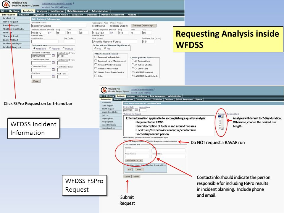 WFDSS Incident Information WFDSS Incident Information WFDSS FSPro Request WFDSS FSPro Request Requesting Analysis inside WFDSS