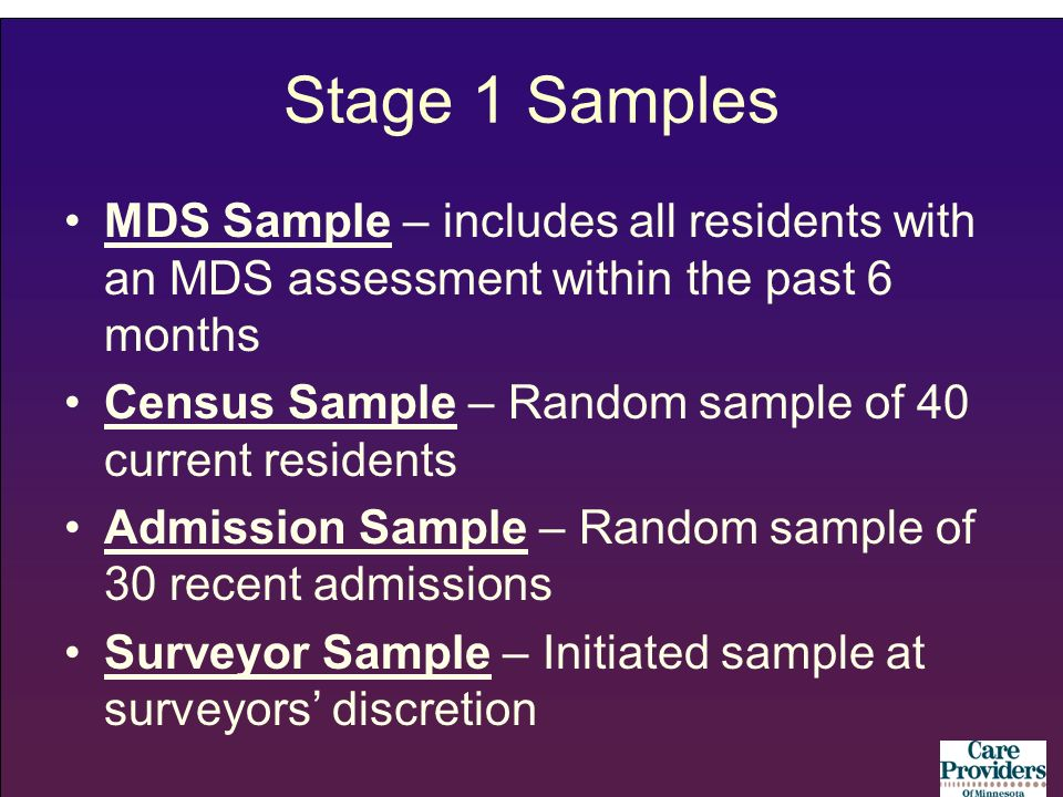 Stage 1 Samples MDS Sample – includes all residents with an MDS assessment within the past 6 months Census Sample – Random sample of 40 current reside