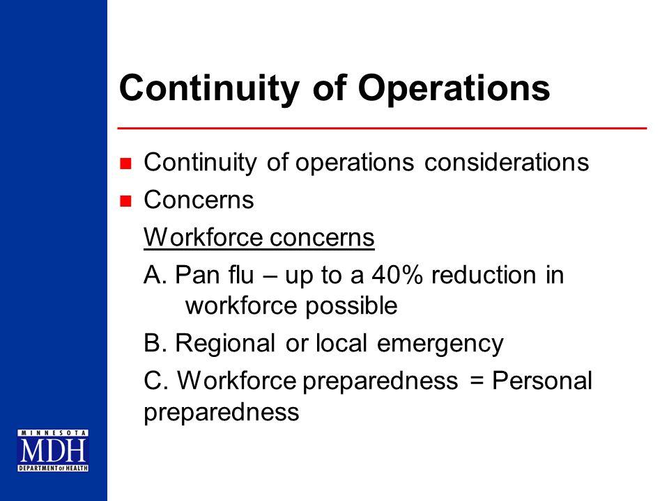 Workforce Preparedness Personal preparedness A.Personal and family plans B.