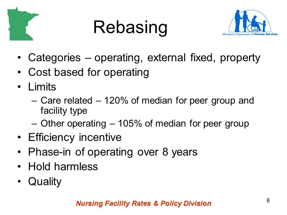Nursing Facility Rates & Policy Division 6 Rebasing Categories – operating, external fixed, property Cost based for operating Limits –Care related – 120% of median for peer group and facility type –Other operating – 105% of median for peer group Efficiency incentive Phase-in of operating over 8 years Hold harmless Quality
