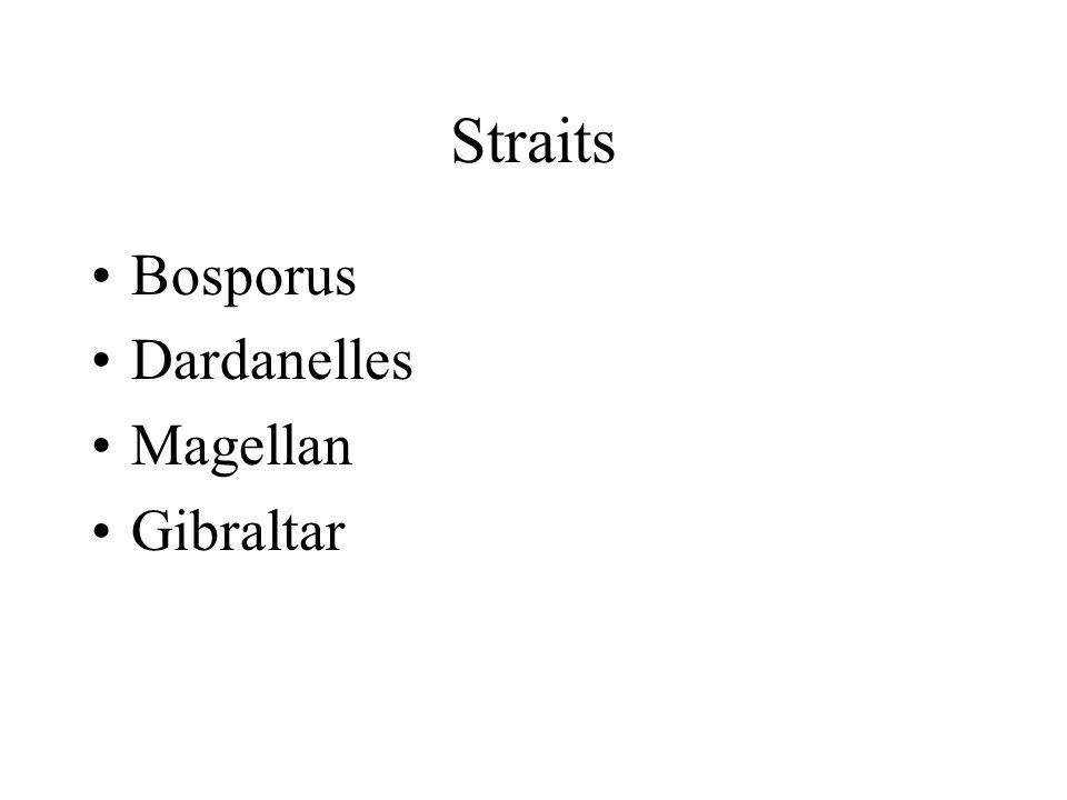 Straits Bosporus Dardanelles Magellan Gibraltar