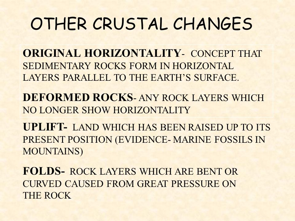 ORIGINAL HORIZONTALITY - CONCEPT THAT SEDIMENTARY ROCKS FORM IN HORIZONTAL LAYERS PARALLEL TO THE EARTHS SURFACE. DEFORMED ROCKS - ANY ROCK LAYERS WHI