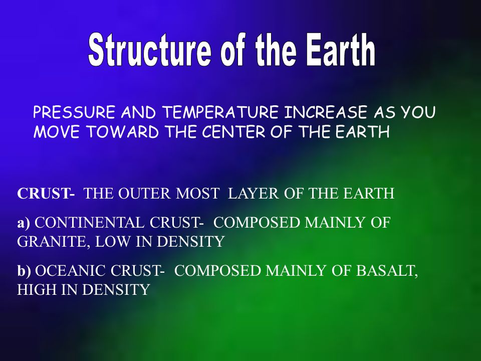 MOHO- THE BOUNDARY BETWEEN THE CRUST AND THE MANTLE MANTLE- THE LAYER OF MOLTEN ROCK EXTENDING FROM THE CRUST DOWNWARD 2850 KM OUTER CORE- BETWEEN MANTLE AND INNER CORE, COMPOSED OF IRON AND NICKEL INNER CORE- SOLID IRON AND NICKEL LOCATED AT THE CENTER OF THE EARTH LITHOSPHERE- CRUST AND UPPERMOST SOLID PART OF THE MANTLE ASTHENOSPHERE- UNDERLIES THE LITHOSPHERE, COMPOSED OF PARTIALLY MOLTEN ROCK