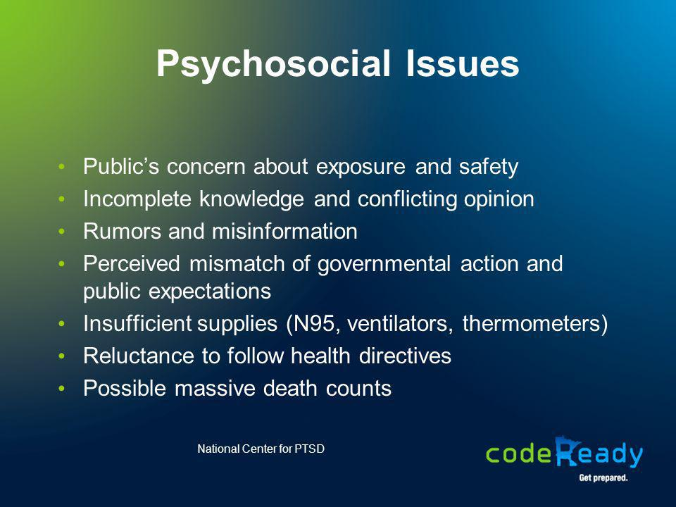 Psychosocial Issues Publics concern about exposure and safety Incomplete knowledge and conflicting opinion Rumors and misinformation Perceived mismatc