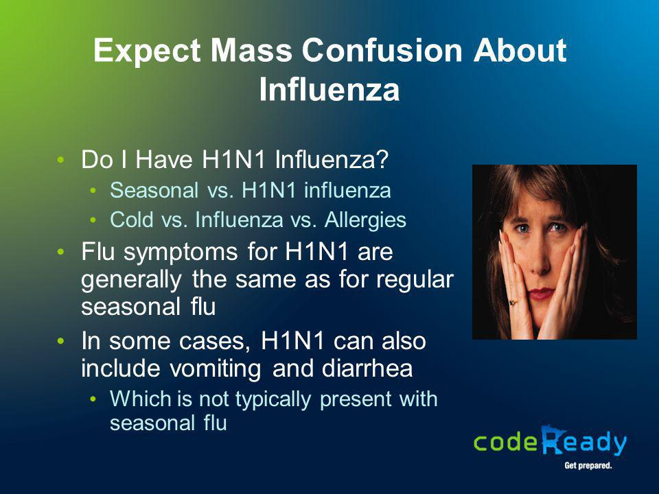 Expect Mass Confusion About Vaccination Two (2) Different Flu Shots this year H1N1 Seasonal Vaccination is voluntary Highly recommended for healthcare workers and for people at high risk of complications from the flu Availability of Vaccine vs.