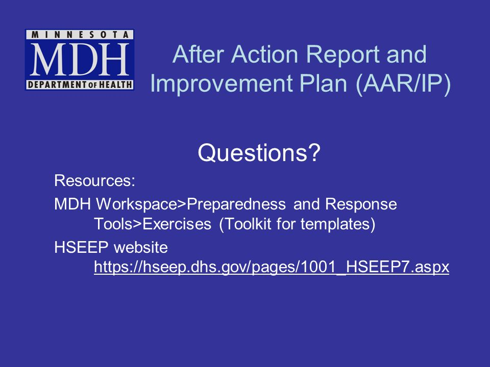 After Action Report and Improvement Plan (AAR/IP) Questions.