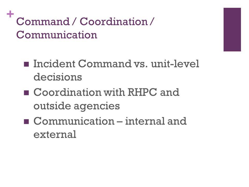 + Command / Coordination / Communication Incident Command vs.