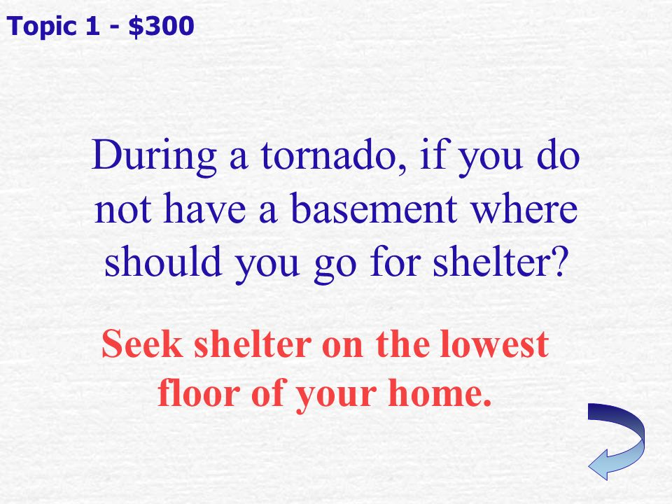 An alert that tells you that flooding is occurring or will occur soon Topic 1 - $200 What is a flood Warning?