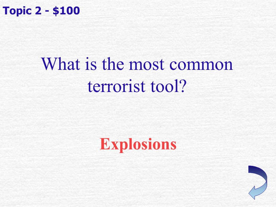 Drop, Cover, & Hold ON If you start to feel the ground shaking (earthquake) what should you do? Topic 1 - $500