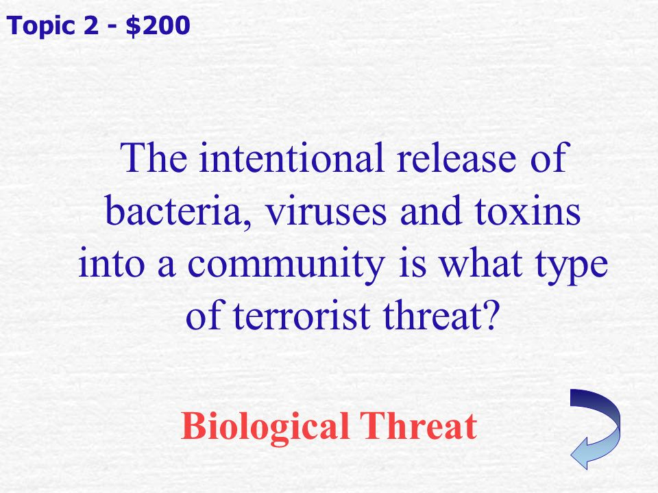 What is the most common terrorist tool Explosions Topic 2 - $100