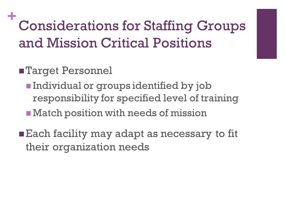 + Considerations for Staffing Groups and Mission Critical Positions Target Personnel Individual or groups identified by job responsibility for specifi