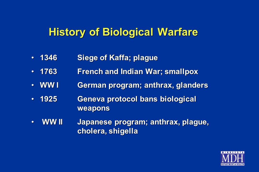 History of Biological Warfare 1346Siege of Kaffa; plague1346Siege of Kaffa; plague 1763French and Indian War; smallpox1763French and Indian War; small