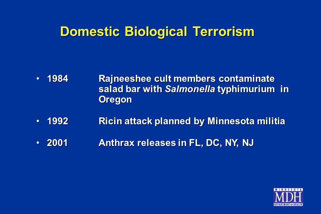 Domestic Biological Terrorism 1984Rajneeshee cult members contaminate salad bar with Salmonella typhimurium in Oregon1984Rajneeshee cult members conta