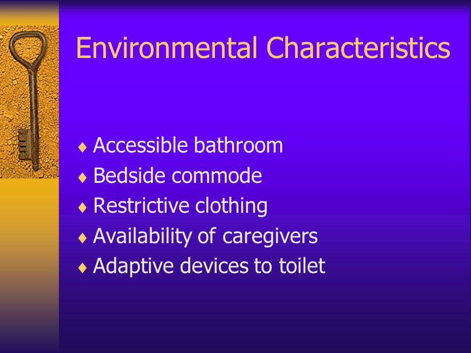 Environmental Characteristics Accessible bathroom Bedside commode Restrictive clothing Availability of caregivers Adaptive devices to toilet