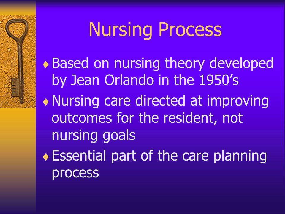 Nursing Process Based on nursing theory developed by Jean Orlando in the 1950s Nursing care directed at improving outcomes for the resident, not nursi