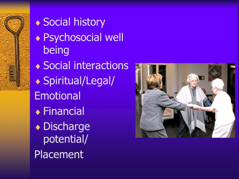 Social history Psychosocial well being Social interactions Spiritual/Legal/ Emotional Financial Discharge potential/ Placement