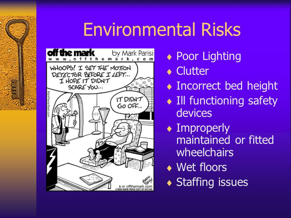 Environmental Risks Poor Lighting Clutter Incorrect bed height Ill functioning safety devices Improperly maintained or fitted wheelchairs Wet floors S
