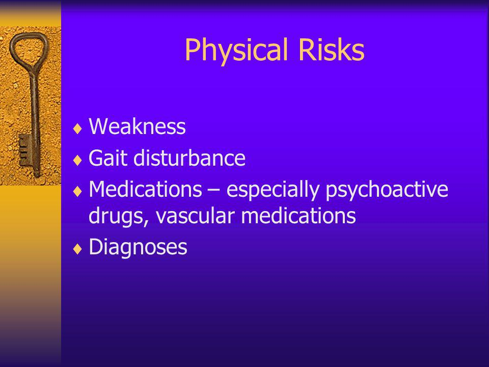 Physical Risks Weakness Gait disturbance Medications – especially psychoactive drugs, vascular medications Diagnoses