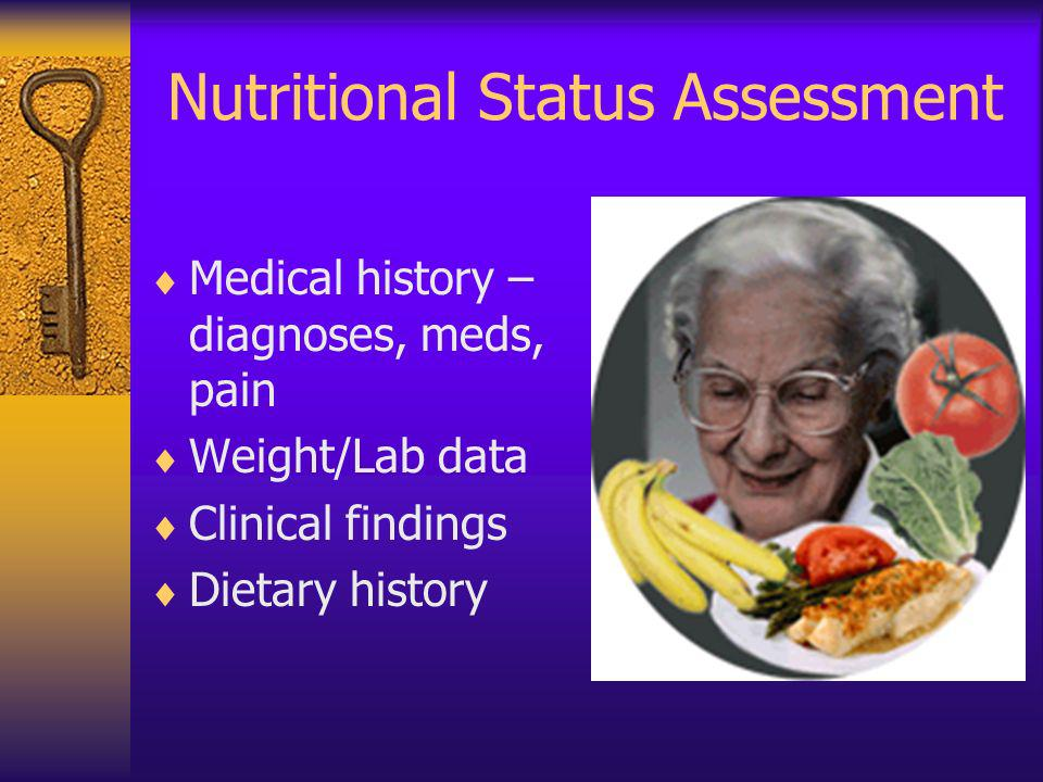 Nutritional Status Assessment Medical history – diagnoses, meds, pain Weight/Lab data Clinical findings Dietary history
