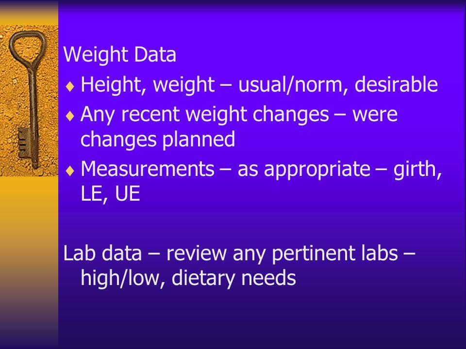 Weight Data Height, weight – usual/norm, desirable Any recent weight changes – were changes planned Measurements – as appropriate – girth, LE, UE Lab