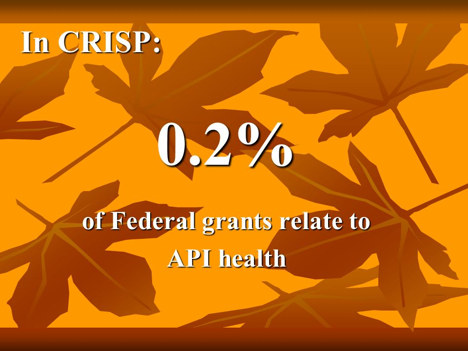 In CRISP: 0.2% of Federal grants relate to API health