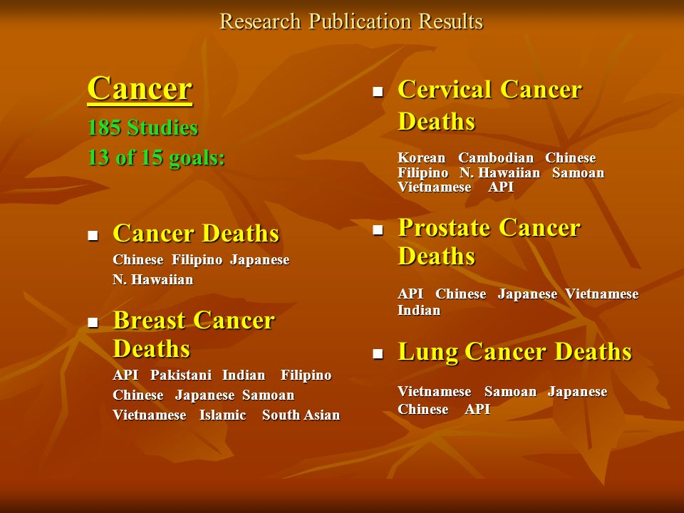 Research Publication Results Cancer 185 Studies 13 of 15 goals: Cancer Deaths Cancer Deaths Chinese Filipino Japanese Chinese Filipino Japanese N.
