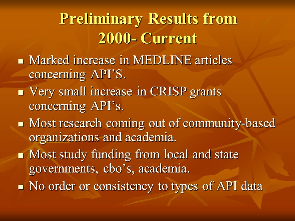 Preliminary Results from 2000- Current Marked increase in MEDLINE articles concerning APIS.