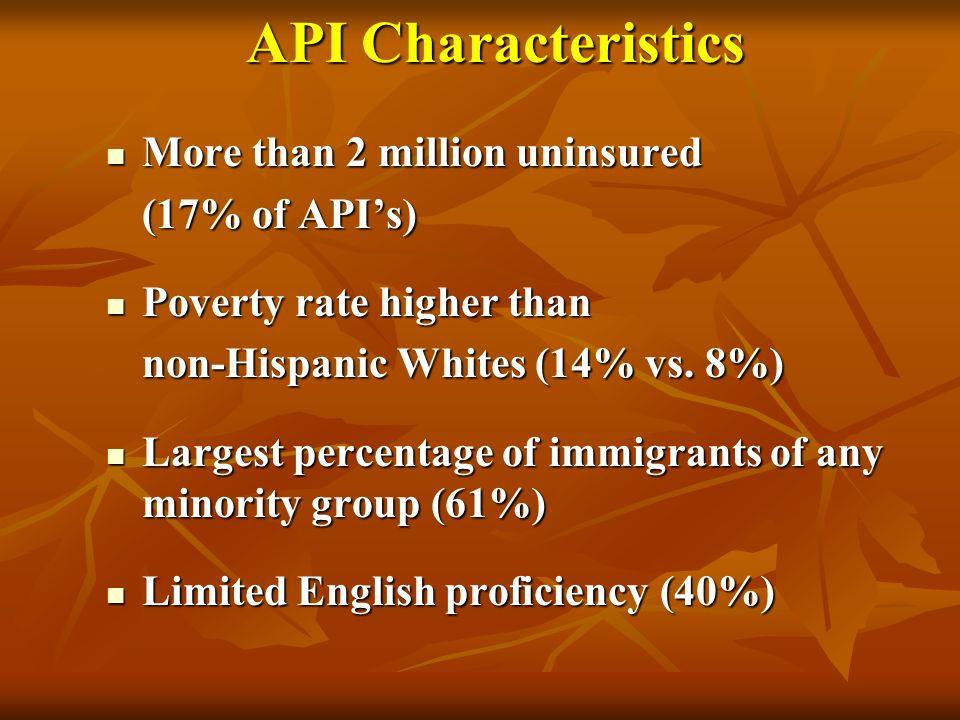 API Characteristics API Characteristics More than 2 million uninsured More than 2 million uninsured (17% of APIs) (17% of APIs) Poverty rate higher th