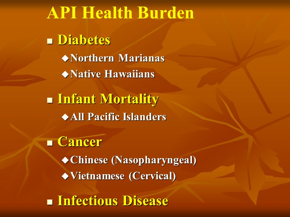 Diabetes Diabetes u Northern Marianas u Native Hawaiians Infant Mortality Infant Mortality u All Pacific Islanders Cancer Cancer u Chinese (Nasopharyngeal) u Vietnamese (Cervical) Infectious Disease Infectious Disease API Health Burden