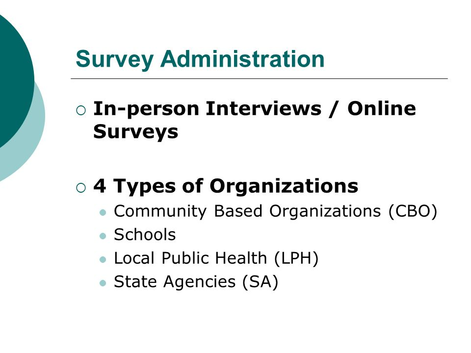 Survey Administration In-person Interviews / Online Surveys 4 Types of Organizations Community Based Organizations (CBO) Schools Local Public Health (LPH) State Agencies (SA)