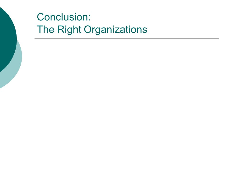 Conclusion: The Right Organizations